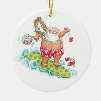 Vintage Christmas Cartoon Surfing Santa Claus Christmas Ornament
