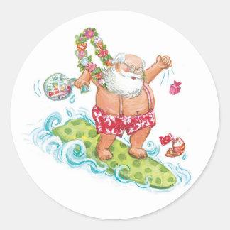 Vintage Christmas Cartoon Surfing Santa Claus Classic Round Sticker