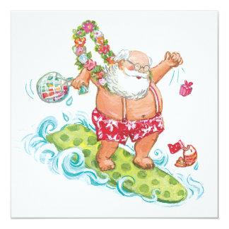 Vintage Christmas Cartoon Surfing Santa Claus 5.25x5.25 Square Paper Invitation Card
