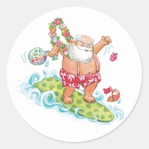 Vintage Christmas Cartoon Surfing Santa Claus Round Stickers