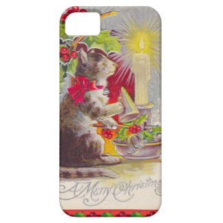 Vintage Christmas, Cat among decorations iPhone 5 Cases