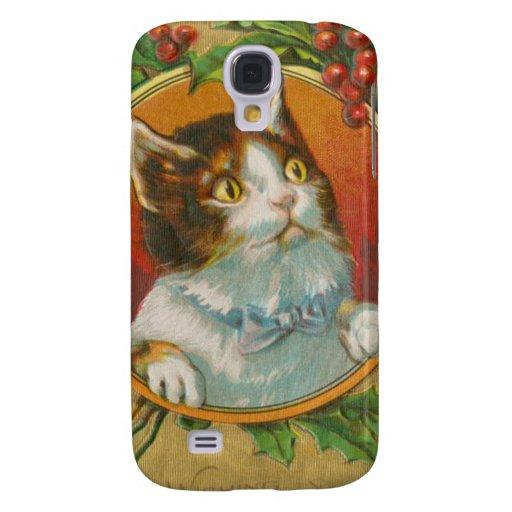Vintage Christmas Cat Galaxy S4 Case