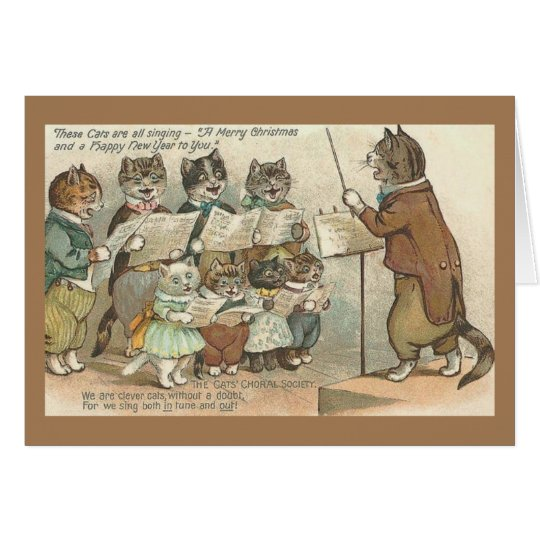 Vintage Christmas Cat Choir Christmas Card