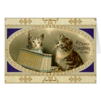 Vintage Christmas Cat Greeting Card