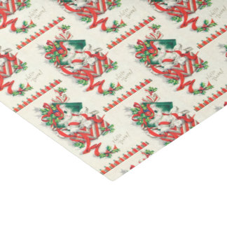 Vintage Christmas cat Holiday party tissue Tissue Paper