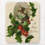 Vintage Christmas Cat Mouse Pad