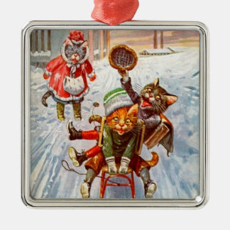 Vintage Christmas Cat Ornament