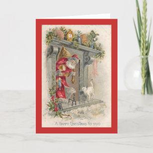 Vintage Christmas Cat & Santa Claus Card