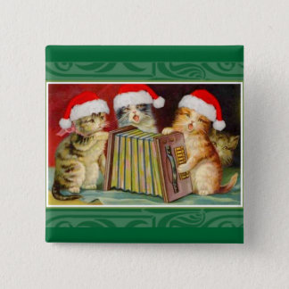 Vintage Christmas Cats 15 Cm Square Badge