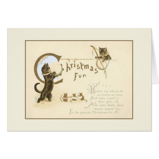 Vintage Christmas Cats and Mice Greeting Card