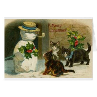 Vintage Christmas Cats and Snowman Greeting Card