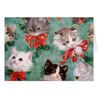 Vintage Christmas Cats Card