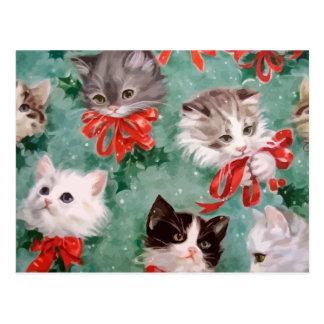 Vintage Christmas Cats Postcard