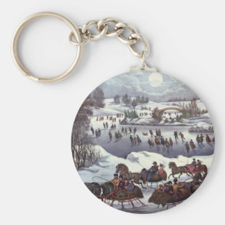 Vintage Christmas, Central Park in Winter Basic Round Button Key Ring
