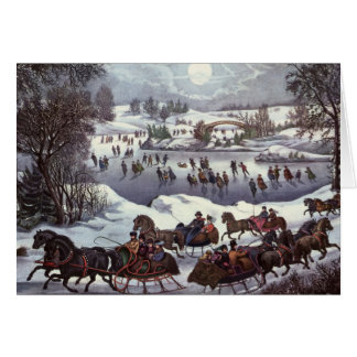 Vintage Christmas Central Park in Winter Card