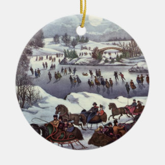 Vintage Christmas, Central Park in Winter Christmas Ornament