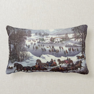 Vintage Christmas, Central Park in Winter Cushions