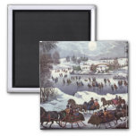 Vintage Christmas, Central Park in Winter Magnets