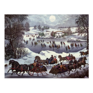 Vintage Christmas Central Park in Winter Post Card