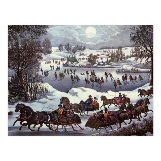 Vintage Christmas, Central Park in Winter Post Card