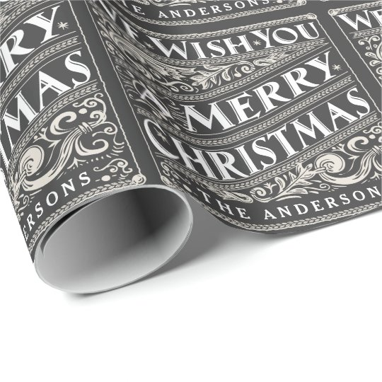 VINTAGE CHRISTMAS CHALKBOARD PERSONALIZED WRAPPING WRAPPING PAPER