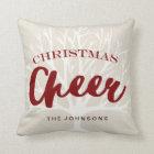 Vintage Christmas Cheer Script Holiday Cushion