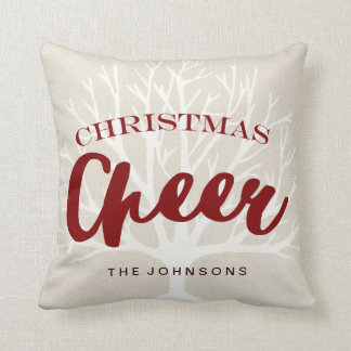 Vintage Christmas Cheer Script Holiday Throw Pillow