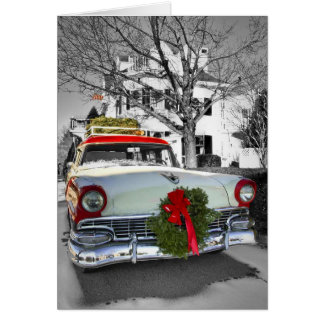 Vintage Christmas Chevy Card