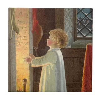 Vintage Christmas, Child Warming by the Fireplace Small Square Tile