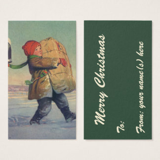Vintage Christmas, Child with Large Package Business Card