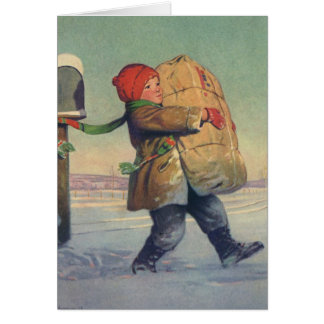 Vintage Christmas, Child with Large Package Greeting Card