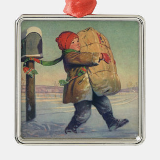 Vintage Christmas, Child with Package Christmas Tree Ornament