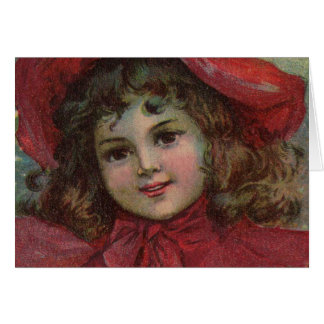 Vintage Christmas child with red Victorian Dress Greeting Card