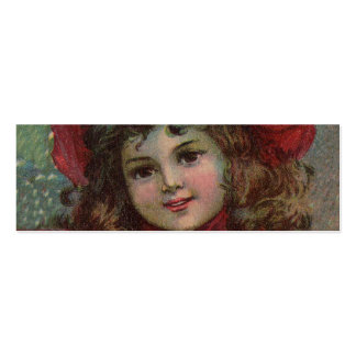Vintage Christmas child with red Victorian Dress Pack Of Skinny Business Cards