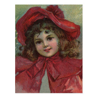 Vintage Christmas child with red Victorian Dress Postcard
