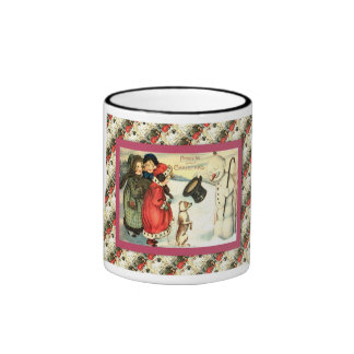 Vintage Christmas, Children and a snowman Ringer Mug