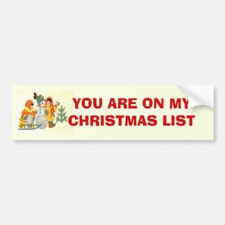 Vintage Christmas, children and snowman Bumper Sticker