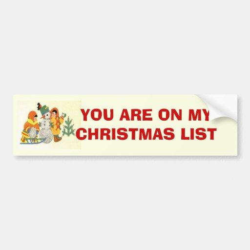 Vintage Christmas, children and snowman Bumper Stickers