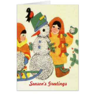 Vintage Christmas, children and snowman Greeting Cards