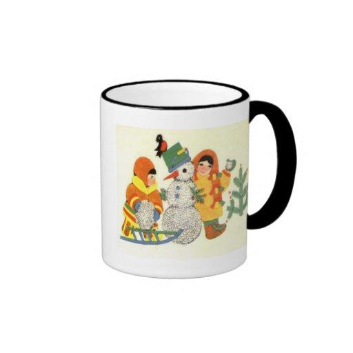 Vintage Christmas, children and snowman Coffee Mugs