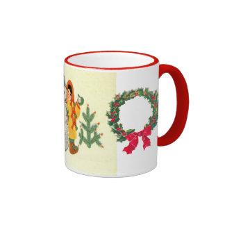 Vintage Christmas, children and snowman Ringer Mug