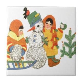 Vintage Christmas, children and snowman Ceramic Tile