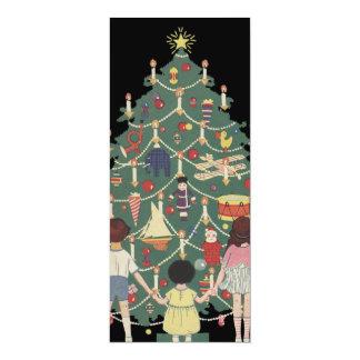 Vintage Christmas Children Around a Decorated Tree 10 Cm X 24 Cm Invitation Card
