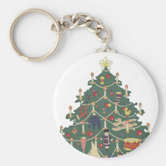Vintage Christmas Children Around a Decorated Tree Basic Round Button Key Ring