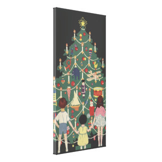 Vintage Christmas Children Around a Decorated Tree Gallery Wrapped Canvas