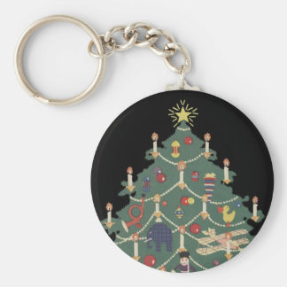 Vintage Christmas Children Around a Decorated Tree Basic Round Button Key Ring