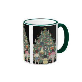 Vintage Christmas Children Around a Decorated Tree Ringer Mug