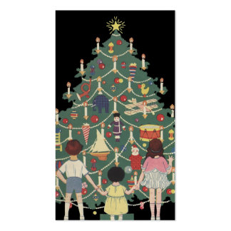Vintage Christmas Children Around a Decorated Tree Pack Of Standard Business Cards