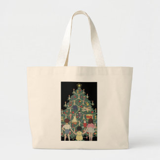 Vintage Christmas Children Around a Decorated Tree Jumbo Tote Bag
