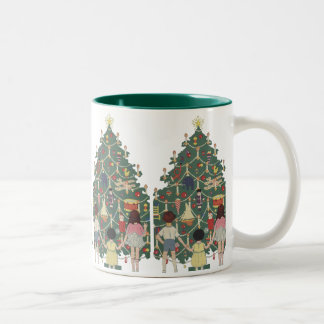 Vintage Christmas Children Around a Decorated Tree Two-Tone Mug